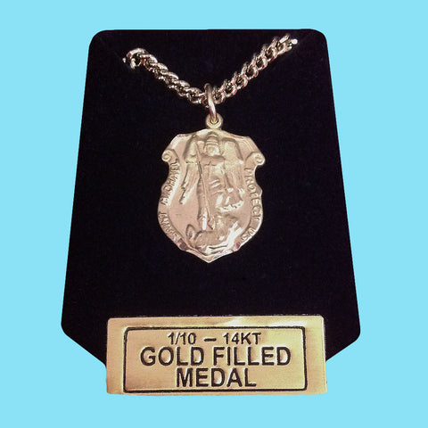 Police Shield Saint Michael Medal - 14KT Gold Filled