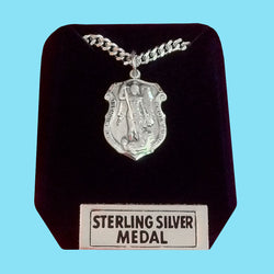 Police Shield Saint Michael Medal - Sterling Silver