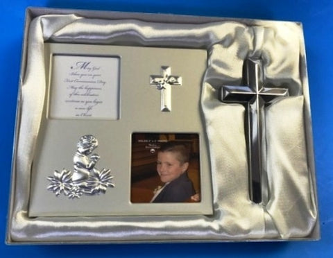 Communion Picture Frame and Cross - Boy