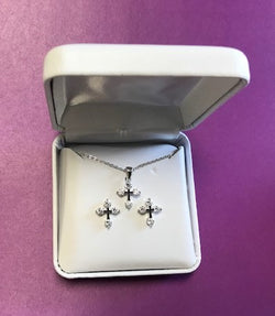 Clear Crystal Cross Pendant and Earrings