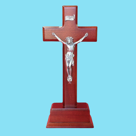 Cherry Wood Standing Crucifix