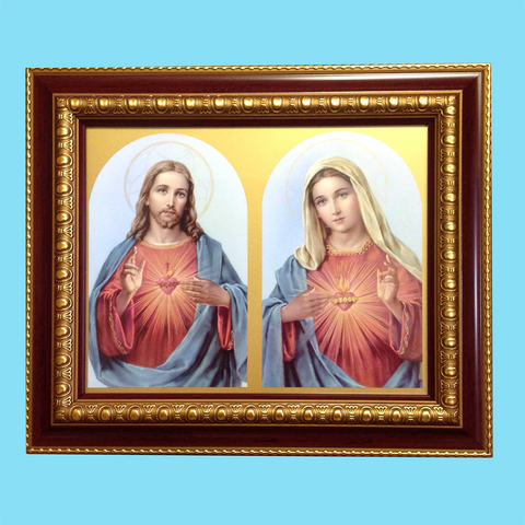 Sacred Heart and Immaculate Heart - Framed