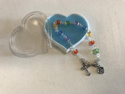 Multi-Colored Glass Rosary Bracelet