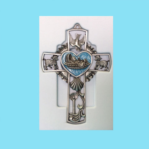 Pewter Baby Wall Cross - Blue