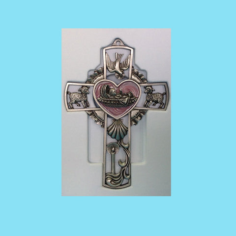 Pewter Baby Wall Cross - Pink