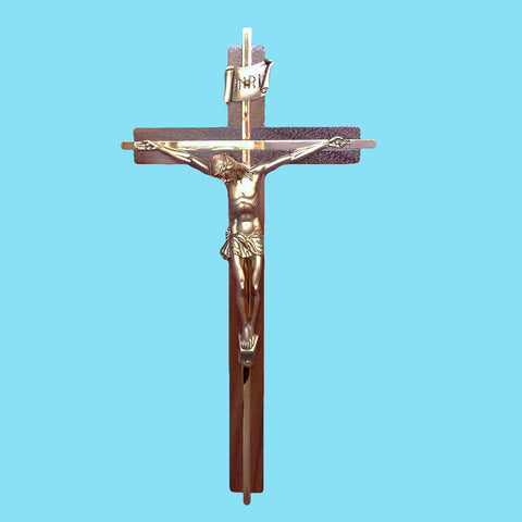 Crucifix - Walnut and Gold