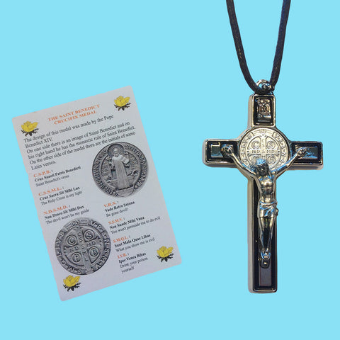 Crucifix - Saint Benedict - Silver with Black Enamel