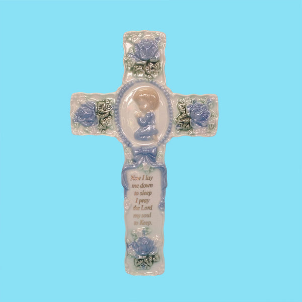 Porcelain Baby Wall Cross - Boy