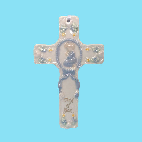 Porcelain Baby Child of God Crib Cross - Blue