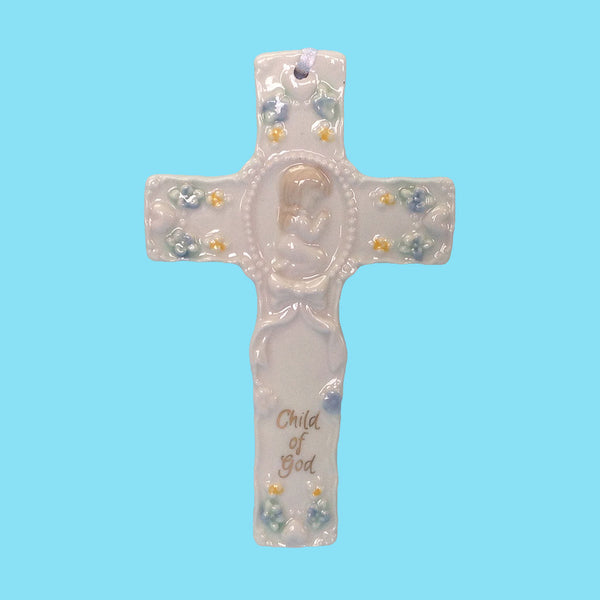Porcelain Baby Child of God Crib Cross - Pink