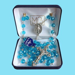 Rosary - Silver Plated with Aqua Crystal Beads