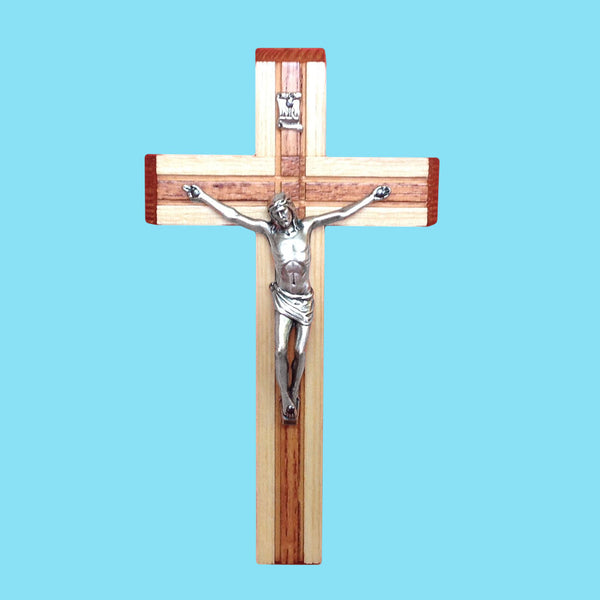 Beveled Wood Two-Tone Crucifix