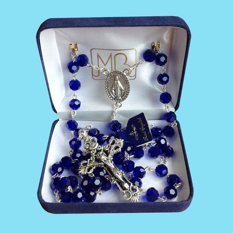 Rosary - Silver Plated with Dark Blue Crystal Beads