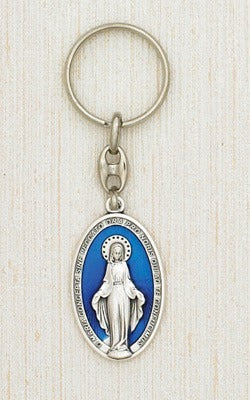 Miraculous Mary Oval Enameled Key Chain