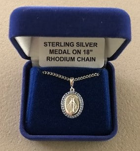 Miraculous Medal - Sterling Silver -  with Blue Crystal Border