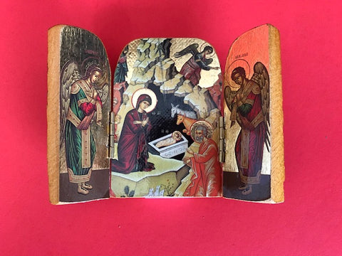 Nativity Triptych - Greek Icon with Angels