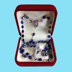 Rosary Necklace - Silver Plated with Aurora Borealis Beads