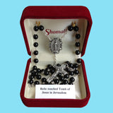 Rosary - Silver Plated with Black Glass Beads and Relic