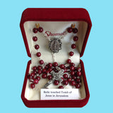 Rosary - Silver Plated with Burgundy Glass Beads and Relic