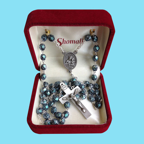 Rosary - Silver Plated with Jade Textured Beads