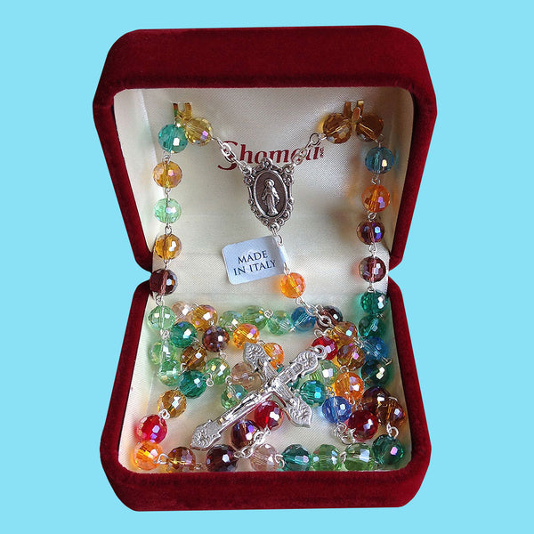 Rosary - Silver Plated with Multicolor Crystal Beads
