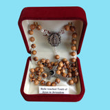 Rosary - Silver Plated with Olivewood Beads and Relic