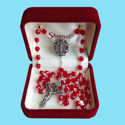 Rosary - Silver Plated with Ruby Crystal Beads