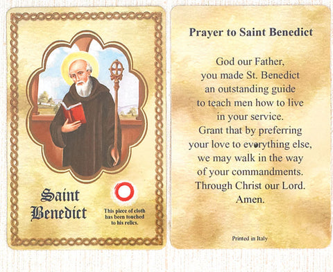 Saint Benedict Relic Prayer Card