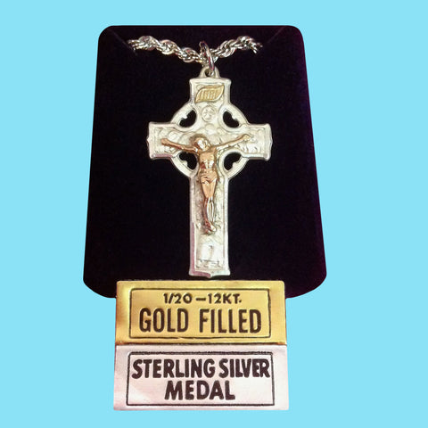 Celtic Crucifix - Sterling Silver with 14KT Gold Filled