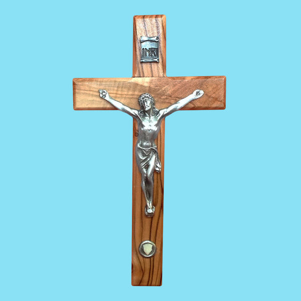 Olivewood Crucifix With Bethlehem Stone