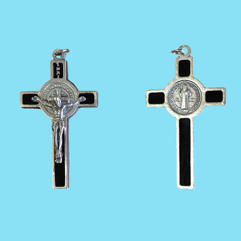 Crucifix - Saint Benedict - Black Enamel on Silver Nickel