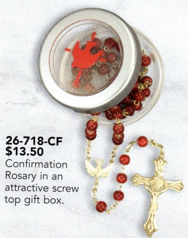Confirmation rosary in screw-top gift box