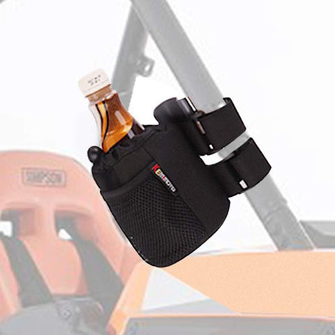 "KEMIMOTO UTV Roll Bar Drink Cup Holder with Mesh Pocket- Collapsible/Adjustable Water Bottle Holder Universal fits 1.7"" to 2"" Roll Cage Polaris RZR Ranger General Can Am Commander Maverick X3"