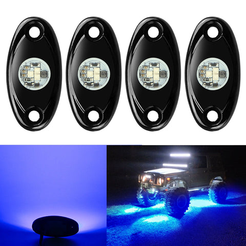 4 Pods LED Rock Lights, Ampper Waterproof LED Neon Underglow Light
