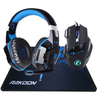 5500 DPI X7 Pro Gaming Mouse + EACH G2000 Hifi Pro Gaming Headphone + Rakoon Gaming Mousepad