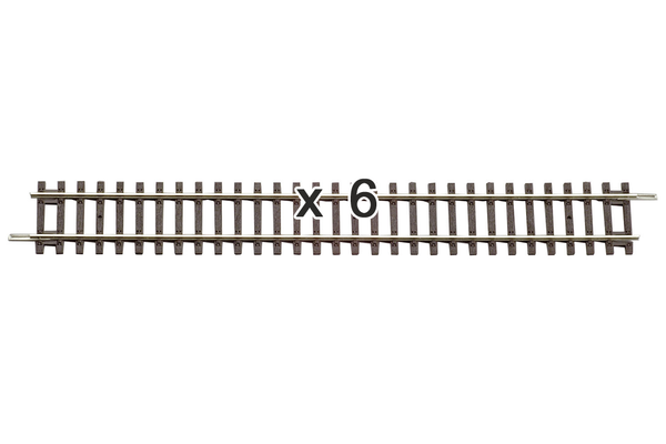 "55201 Box of 6 Straight Track, 9.1"" (HO-Scale)"
