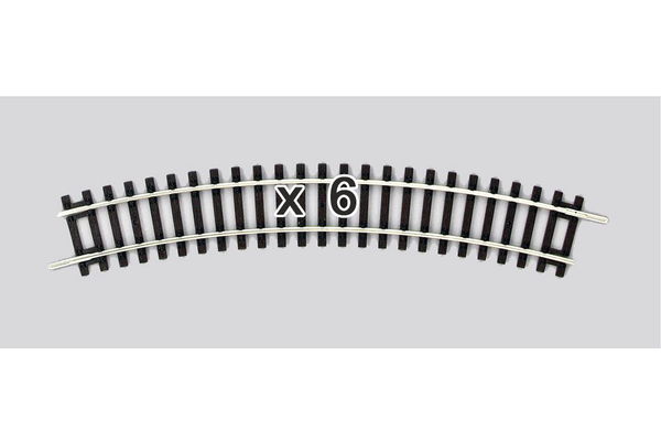 55211 Box of 6 Curved Track, R1/30° (HO-Scale)