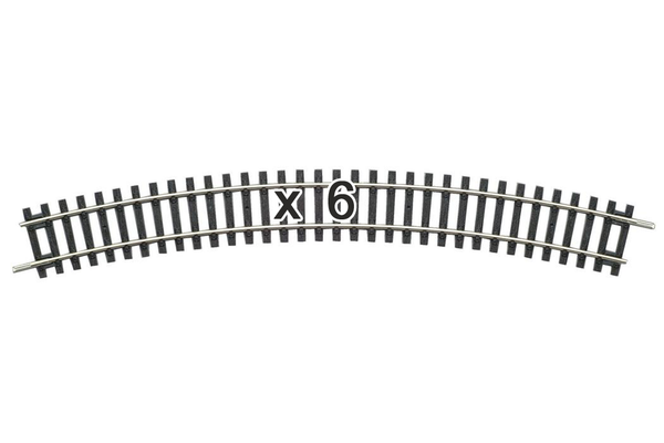 55213 Box of 6 Curved Track, R3/30° (HO-Scale)