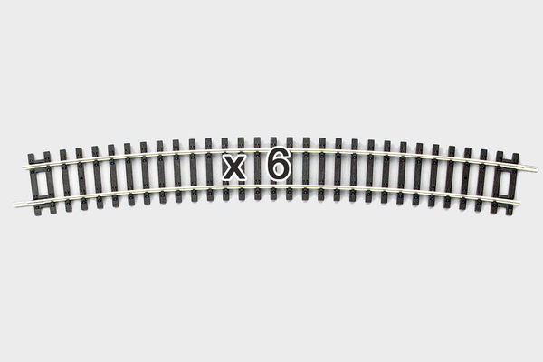 55219 Box of 6 Curved Track, R9/15° (HO-Scale)