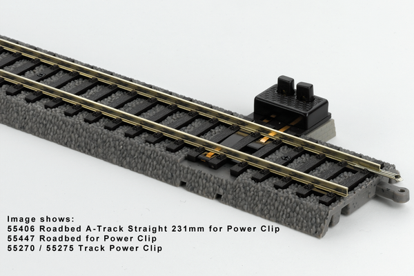 "55406 Box of 6 Roadbed A-Track Straight for Power Clip, 9.1"" (HO-Scale)"