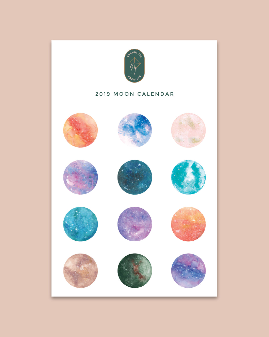 Digital 2019 Moon Calendar