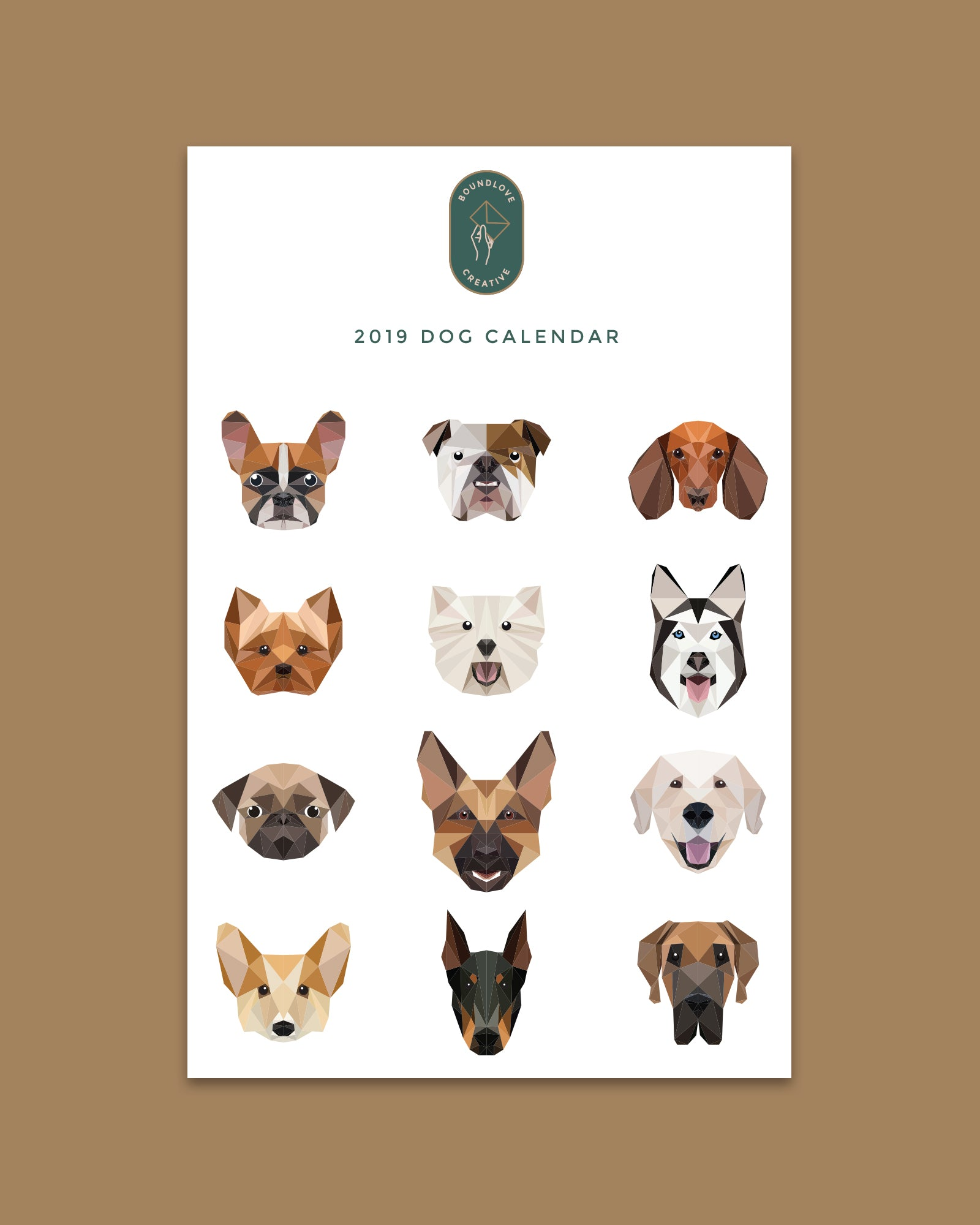 Digital 2019 Dog Calendar Boundlove Creative