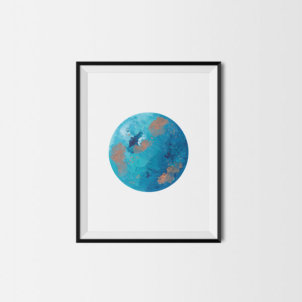 Blue and Gold Moon Art Print