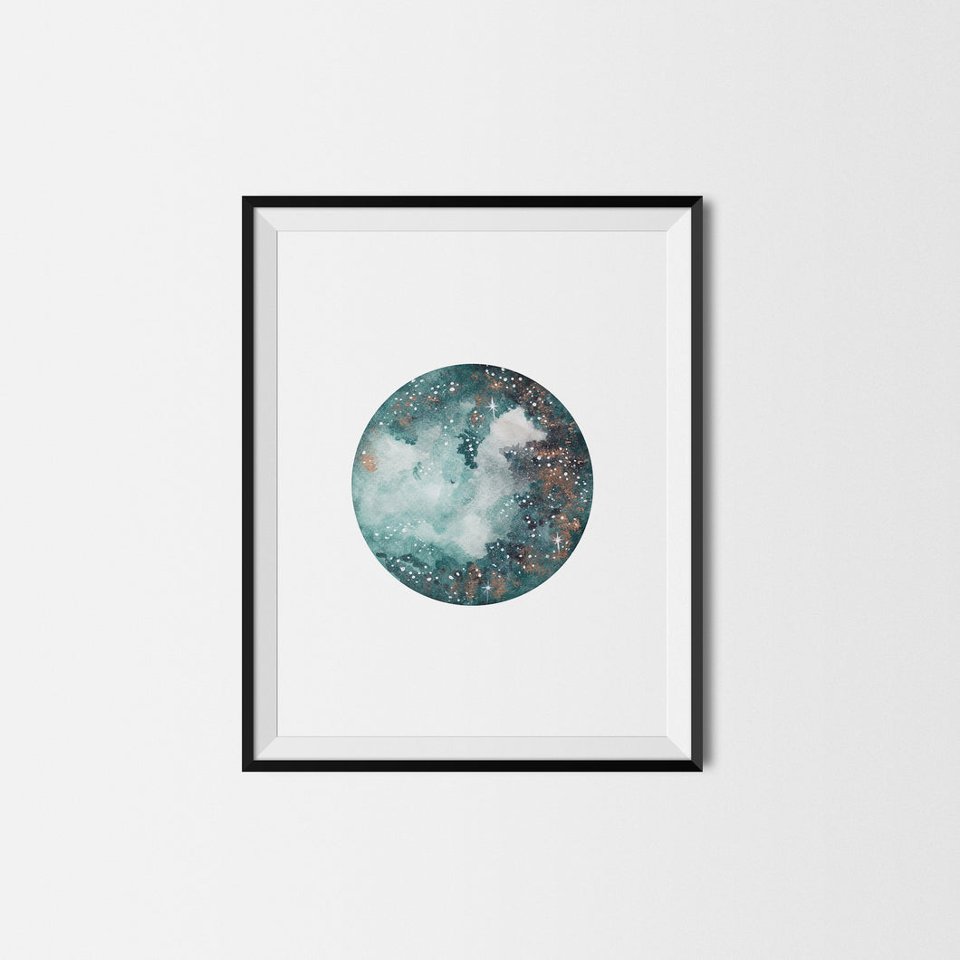Dark Green Moon Art Print
