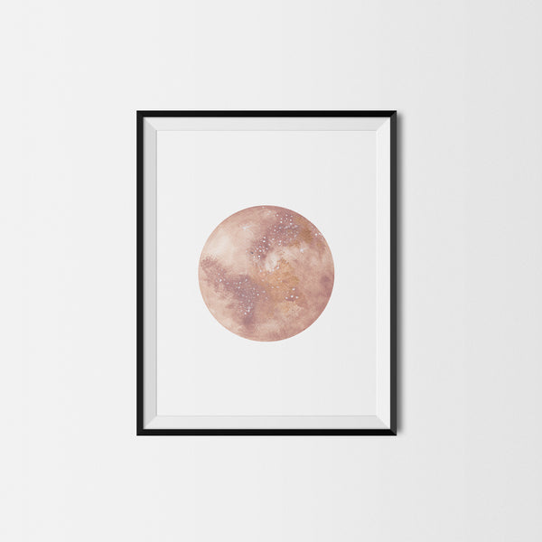 Golden Brown Moon Art Print