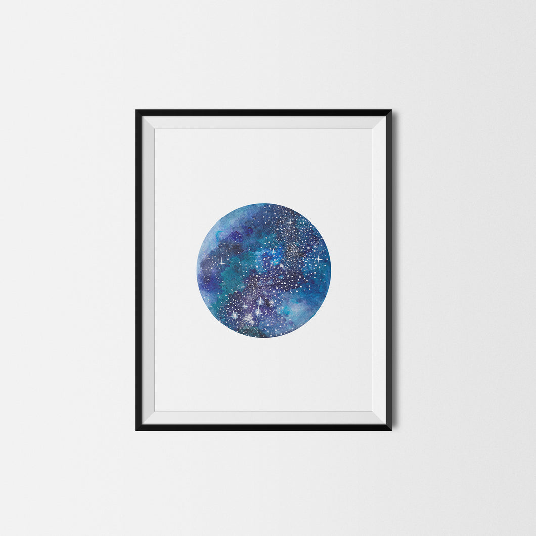 Dark Blue Moon Art Print