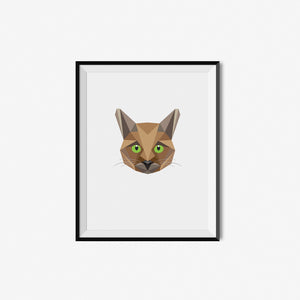 Geometric Cat Art Print
