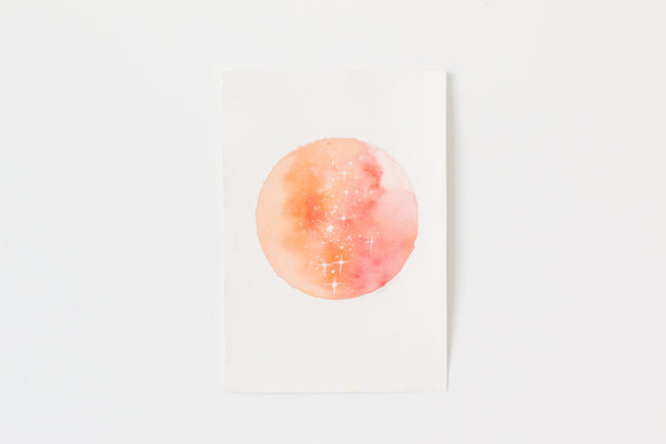 Original Orange-Red Moon Painting
