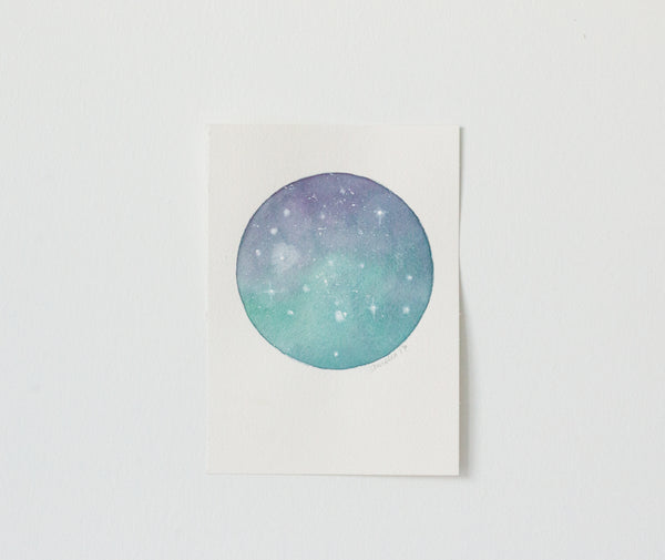 Original Purple-Teal Moon Painting