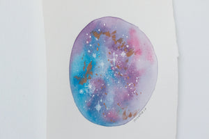 Original Blue-Pink-Copper Moon Painting